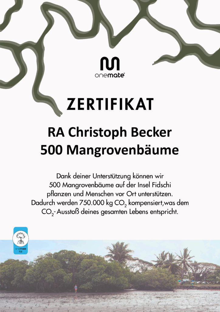 Zertifikat Bumpflanzung